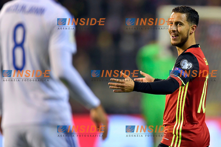 BRUSSELS, BELGIUM - OCTOBER 7 : Eden Hazard midfielder of Belgium gestures during the World Cup Qualifier Group H match between Belgium and Bosnia and Herzegovina at the King Baudouin Stadium on October 07, 2016 in Brussels, Belgium, 7/10/2016  <br /> Bruxelles 07-10-2016 Calcio Qualificazioni Mondiali <br /> Belgio Bosnia <br /> Foto Photonews/Panoramic/Insidefoto <br /> ITALY ONLY
