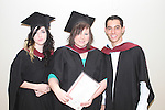 Lyndsey McGee, Nicola Churchill and Jaoa Silva who graduated from Business Bilingual at the DIFE Graduation in The Barbican...Picture Jenny Matthews/Newsfile.ie
