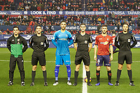 Captains of both teams and the 3 referees before the Spanish football of La Liga 123, match between CA Osasuna and AD Alcorcón at the Sadar stadium, in Pamplona (Navarra), Spain, on Sunday, January 6, 2019.