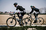 Peter Sagan (SVK) and Daniel Oss (ITA) Bora-Hansgrohe recon the cobbles before Paris-Roubaix 2019. 11th April 2019<br /> Picture: ASO/Pauline Ballet | Cyclefile<br /> All photos usage must carry mandatory copyright credit (&copy; Cyclefile | ASO/Pauline Ballet)