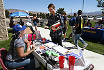 Kate Duvall talks with Noah Shek at a student BBQ and club fair at Western Nevada College in Carson City, Nev., on Thursday, Sept. 1, 2016. <br />Photo by Cathleen Allison