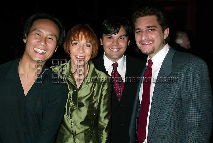 B.D. Wong, Patricia Elliott, Robert Lopez and Jeff Marx<br /> Attending the Broadway Theater Institute 2003 Awards for Excellence held at The Players Club <br /> on Gramercy Park in New York City.<br /> September 15, 2003