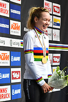 Picture by Simon Wilkinson/SWpix.com - 29/09/2018 - Cycling 2018 Road Cycling World Championships Innsbruck-Tirol, Austria - Women's Elite Road Race Podium - Anna van der Breggen of The Netherlands celebrates in the rainbow jersey.
