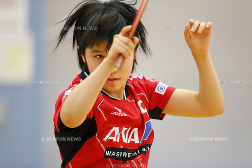 Miu Hirano (JPN), APRIL 22, 2015 - Table Tennis : Japan national team training session for 2015 World Table Tennis Championships in Tokyo at Ajinomoto National Training Center, Tokyo, Japan. (Photo by Yusuke NakanishiAFLO SPORT)