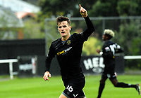 Angus Kilkolly celebrates his second goal during the 2018 OFC Champions League Quarterfinal between Team Wellington and Lae City Dwellers FC at David Farrington Park in Wellington, New Zealand on Saturday, 7 April 2018. Photo: Dave Lintott / lintottphoto.co.nz