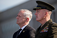 Jim Mattis, U.S. Secretary of Defense, left, and General Joseph Dunford, Chairman of the Joint Chiefs of Staff, listen during a ceremony to commemorate the September 11, 2001 terrorist attacks with U.S. President Donald Trump, not pictured, at the Pentagon in Washington, D.C., U.S., on Monday, Sept. 11, 2017. Trump is presiding over his first 9/11 commemoration on the 16th anniversary of the terrorist attacks that killed nearly 3,000 people when hijackers flew commercial airplanes into New York's World Trade Center, the Pentagon and a field near Shanksville, Pennsylvania. <br /> CAP/MPI/CNP/RS<br /> &copy;RS/CNP/MPI/Capital Pictures