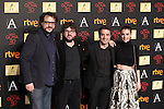 (L-R) Juan Miguel del Castillo, Dani de la Torre, Daniel Guzman and Leticia Dolera attend the 2016 Goya Nominee party in Madrid, Spain. January 26, 2015. (ALTERPHOTOS/Victor Blanco)