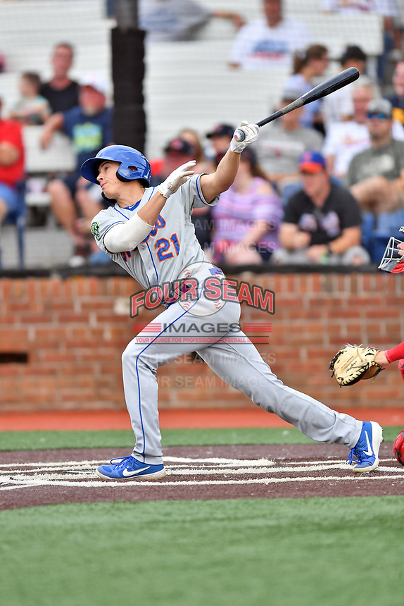 Kingsport Mets Cole Kleszcz (21) swings at a pitch during a game against the Johnson City Cardinals at TVA Credit Union Ballpark on June 28, 2019 in Johnson City, Tennessee. The Cardinals defeated the Mets 7-4. (Tony Farlow/Four Seam Images)