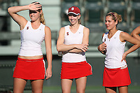 STANFORD, CA - JANUARY 30:  Logan Hansen, Carolyn McVeigh, and Courtney Clayton of the Stanford Cardinal during Stanford's 6-1 win over the Colorado Buffaloes in the ITA Indoor Qualifying on January 30, 2009 at the Taube Family Tennis Stadium in Stanford, California.