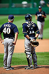 23 August 2009: Milwaukee Brewers' Manager Ken Macha and catcher Mike Rivera wait on the mound for a new pitcher to come in from the bullpen during a game against the Washington Nationals at Nationals Park in Washington, DC. The Nationals defeated the Brewers 8-3 to take the third game of their four-game series, snapping a five games losing streak. Mandatory Credit: Ed Wolfstein Photo