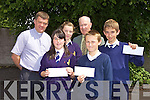 WINNERS: Winners of the Annual Table Quiz organised by St. John's Pioneer Centre took place on Tuesday in the Presentation Secondary school hall. Pictured with Fr. Kieran O'Brien and John Cooke are the winners Caherleaheen National School: Aiveen Gavaghan, Orla Sheehy, Sean Atkinson,  and Conor Harty.