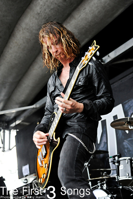 Greg Bradley of Art of Dying performs during 2011 Rockstar Energy Drink Uproar Festival on September 21, 2011 at Blossom Music Center in Cleveland, Ohio.