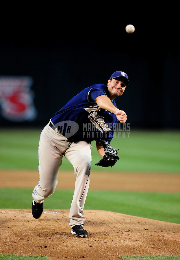 Apr. 6, 2010; Phoenix, AZ, USA; San Diego Padres pitcher Chris Young throws in the first inning against the Arizona Diamondbacks at Chase Field. Mandatory Credit: Mark J. Rebilas-