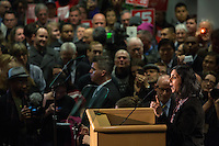 Socialist City Councilmember Kshama Sawant speaks after being sworn into office today, January 6, 2014, before a standing-room-only crowd at Seattle City Hall. Sawant is the first Socialist elected to Seattle's City Council.