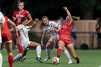 NEWTON, MA - AUGUST 29: Hailee Perri #17 of Boston College , Emily Weintraub #8 of Boston College, and Ashley Buck #2 of Boston University battle for the ball during a game between Boston University and Boston College at Newton Campus Field on August 29, 2019 in Newton, Massachusetts.