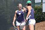 23 April 2015: Monica Robinson (left) and Quinn Gleason (right). The Notre Dame University Fighting Irish played the Florida State University Seminoles at the Cary Tennis Park in Cary, North Carolina in a 2015 NCAA Division I Women's Tennis and Atlantic Coast Conference Tournament First Round match. Florida State won the match 4-3.