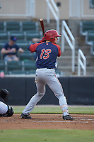 Jacob Rhinesmith (13) of the Hagerstown Suns at bat against the Kannapolis Intimidators at Kannapolis Intimidators Stadium on August 27, 2019 in Kannapolis, North Carolina. The Intimidators defeated the Suns 5-4. (Brian Westerholt/Four Seam Images)