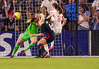 5th March 2020, Orlando, Florida, USA;  the United States goalkeeper Alyssa Naeher (1) makes a save from England Jill Scott during the Women's SheBelieves Cup soccer match between the USA and England on March 5, 2020 at Exploria Stadium in Orlando, FL.