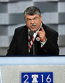 Richard Trumka, President, AFL-CIO, makes remarks at the 2016 Democratic National Convention at the Wells Fargo Center in Philadelphia, Pennsylvania on Monday, July 25, 2016.<br /> Credit: Ron Sachs / CNP<br /> (RESTRICTION: NO New York or New Jersey Newspapers or newspapers within a 75 mile radius of New York City)