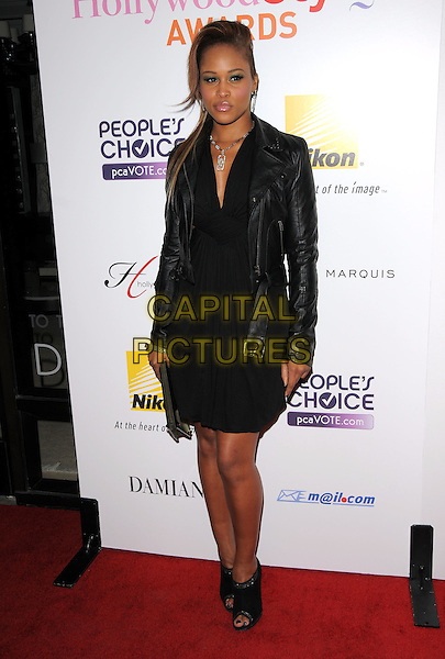 EVE.The Hollywood Life's 5th Annual Hollywood Style Awards held at The Pacific Design Center in Beverly Hills, California, USA..full length black leather jacket open toe ankle boots dress .CAP/DVS.©Debbie VanStory/Capital Pictures.