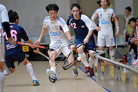 Action from the World Floorball Championship Qualifier and Asia Pacific Floorball Championship Tournament - Korea v Japan at ASB Sports Centre in Kilbirnie, Wellington, New Zealand on Saturday 1 February 2014.<br /> Photo by Masanori Udagawa.<br /> www.photowellington.photoshelter.com.