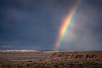 Rainbow in the Painted Desert of the Petrified Forest National Park<br /> <br /> With one of the world's largest and most colorful concentrations of petrified wood, multi-hued badlands of the Painted Desert, historic structures, archeological sites, and displays of over 200-million-year-old fossils, this is a surprising land of scenic wonders and fascinating science.