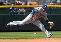 04 May 2008: Los Angeles Dodgers shortstop Rafael Furcal makes a play  against the Colorado Rockies on May 4, 2008 at Coors Field in Denver, Colorado. The Rockies defeated the Dodgers 7-2.