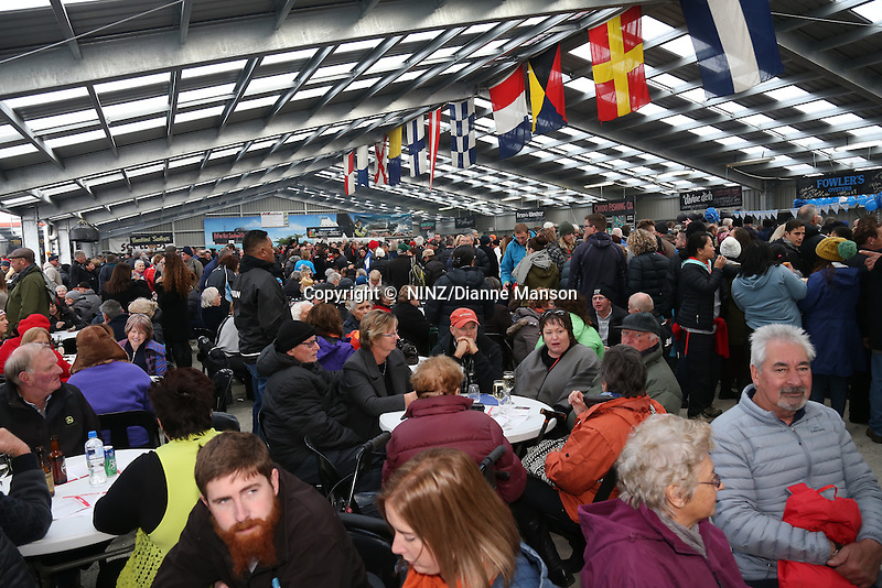 Members of the public queue at the food stalls during the Bluff Oyster and Food Festival, Bluff, New Zealand, Saturday, May 21, 2016. Credit:  Dianne Manson