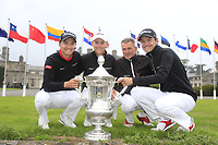 Nicolai Hojgaard John Axelsen and Rasmus Hojgaard team Denmark winners of the World Amateur Team Championships Eisenhower Trophy 2018, Carton House, Kildare, Ireland. 08/09/2018.<br /> Picture Fran Caffrey / Golffile.ie<br /> <br /> All photo usage must carry mandatory copyright credit (&copy; Golffile | Fran Caffrey)