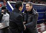 Atletico de Madrid's coach Diego Pablo Simeone and Deportivo la Coruna's coach Jose Luis Oltra during la Liga match on december 9th 2012...Photo: Cesar Cebolla / ALFAQUI