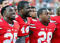 Ohio State Buckeyes quarterback Cardale Jones (12) smiles while singing Carmen Ohio after beating Northern Illinois Huskies 20-13 during their game at Ohio Stadium on September 19, 2015.  (Dispatch photo by Kyle Robertson)