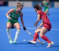 Spain's Carola Salvatella battles with Ireland's Gillian Pinder<br /> <br /> Photographer Hannah Fountain/CameraSport<br /> <br /> Vitality Hockey Women's World Cup - Ireland v Spain - Saturday 4th August 2018 - Lee Valley Hockey and Tennis Centre - Stratford<br /> <br /> World Copyright &copy; 2018 CameraSport. All rights reserved. 43 Linden Ave. Countesthorpe. Leicester. England. LE8 5PG - Tel: +44 (0) 116 277 4147 - admin@camerasport.com - www.camerasport.com