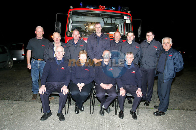 34 Year up and down the ladder and its time to call it a day for christie flanagan as his final night in dunleer fire station came to an end pictured with his crew members and members from drogheda fire station.Photo NEWSFILE/FRAN CAFFREY..(Photo credit should read FRAN CAFFREY/NEWSFILE)...This Picture has been sent you under the condtions enclosed by:.Newsfile Ltd..the Studio,.Millmount Abbey,.Drogheda,.Co Meath..Ireland..Tel: +353(0)41-9871240.Fax: +353(0)41-9871260.GSM: +353(0)86-2500958.email: pictures@newsfile.ie.www.newsfile.ie.FTP: 193.120.102.198..This picture is from Fran Caffrey@newsfile.ie