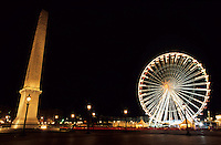 Ferris Wheel and Luxor Obelisk in the Concorde Plaza, Paris, France.