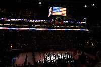17th January 2019, The O2 Arena, London, England; NBA London Game, Washington Wizards versus New York Knicks; The O2 plays the national anthem of the United States of America
