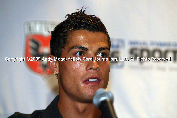 08 August 2009: Real Madrid's Cristiano Ronaldo (POR). Real Madrid of Spain's La Liga and DC United of Major League Soccer held a press conference at the Sofitel Hotel in Washington, DC a day before playing an international club friendly soccer match.