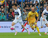 Ivan Persic controls the ball past Arlind Ajeti  during the  italian serie a soccer match,between Frosinone and Inter      at  the Matusa   stadium in Frosinone  Italy , April 09, 2016