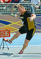 University of Missouri Senior Nate Englin, makes his third attempt in the Mens Championship Round of the Shot Put at the 2008 NCAA Division I Track and Field National Championships. Englin's third toss was his best at 57' 9'', but eight inches short of putting him in the top nine, qualifying him for the final and giving him three more attempts.