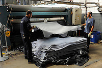 URUGUAY, Dep. San Jose, company Bader, tannery and production of leather for car seats for brands like BMW and others / Firma Bader, Gerberei und Herstellung von Leder fuer Autositze u.a fuer BMW - Wet Blue refers to moist chrome-tanned leather.  The bluish colouring is produced by the chrome tanning agent Chromium III oxide which is blue and is contained in the leather after tanning