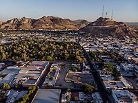 Cerro de la Campana and Madero Park in the Downtown of Hermosillo. Downtown Hermosillo Sonora. Panoramic view. Aerial view.<br />