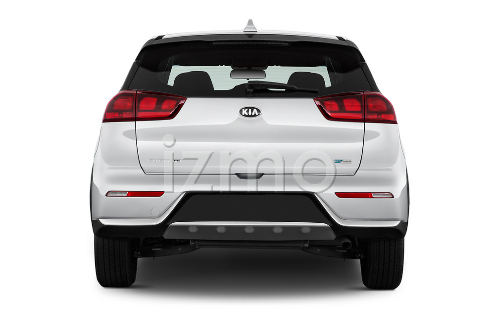 Straight rear view of 2017 KIA Niro FE 5 Door Hatchback Rear View  stock images