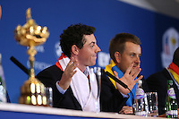 Rory McIlroy (EUR) during the final European Team Press Conference after Sunday's Singles at the 2014 Ryder Cup from Gleneagles, Perthshire, Scotland. Picture:  David Lloyd / www.golffile.ie