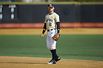 Wake Forest Demon Deacons second baseman Jake Mueller (6) on defense against the Louisville Cardinals at David F. Couch Ballpark on March 18, 2018 in  Winston-Salem, North Carolina.  The Demon Deacons defeated the Cardinals 6-3.  (Brian Westerholt/Sports On Film)