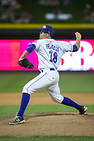 Winston-Salem Dash relief pitcher Yelmison Peralta (28) in action against the Myrtle Beach Pelicans at BB&T Ballpark on May 11, 2017 in Winston-Salem, North Carolina.  The Pelicans defeated the Dash 9-7.  (Brian Westerholt/Four Seam Images)