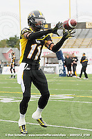 October 12, 2009; Hamilton, ON, CAN; Hamilton Tiger-Cats wide receiver Drisan James (11). CFL football: Winnipeg Blue Bombers vs. Hamilton Tiger-Cats at Ivor Wynne Stadium. The Blue Bombers defeated the Tiger-Cats 38-28. Mandatory Credit: Ron Scheffler. Copyright (c) 2009 Ron Scheffler.