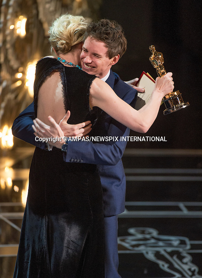 22.02.2015; Hollywood, California: 87TH OSCARS - EDDIE REDMAYNE and CATE BLANCHETT<br />
