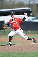Rutgers University Scarlet Knights pitcher Max Herrmann (44) during a game against the University of Cincinnati Bearcats at Bainton Field on April 19, 2014 in Piscataway, New Jersey. Rutgers defeated Cincinnati 4-1.  (Tomasso DeRosa/ Four Seam Images)