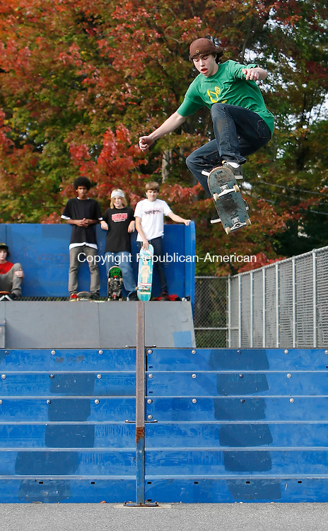 TORRINGTON, CT 10/01/08- 100108BZ04- Jordan Levesque, 15, of Torrington, launches over the &quot;6 set&quot; while skateboarding with friends at the Torrington Skate Park Wednesday afternoon.<br /> Jamison C. Bazinet Republican-America