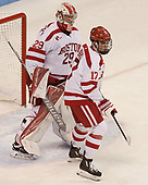 Jake Oettinger (BU - 29), Dante Fabbro (BU - 17) - The visiting Merrimack College Warriors defeated the Boston University Terriers 4-1 to complete a regular season sweep on Friday, January 27, 2017, at Agganis Arena in Boston, Massachusetts.The visiting Merrimack College Warriors defeated the Boston University Terriers 4-1 to complete a regular season sweep on Friday, January 27, 2017, at Agganis Arena in Boston, Massachusetts.