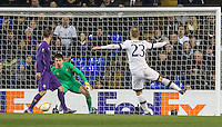 Christian Eriksen of Tottenham Hotspur goes close with a shot at goal during the UEFA Europa League 2nd leg match between Tottenham Hotspur and Fiorentina at White Hart Lane, London, England on 25 February 2016. Photo by Andy Rowland / Prime Media images.